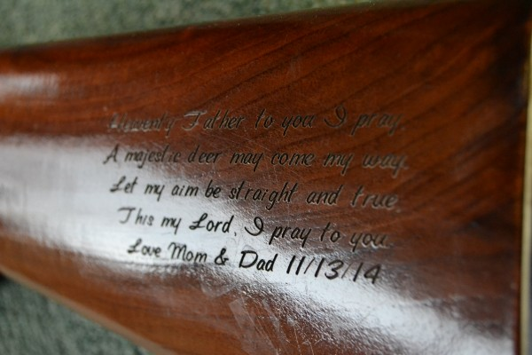 Custom Engraved Wooden Rifle Stock