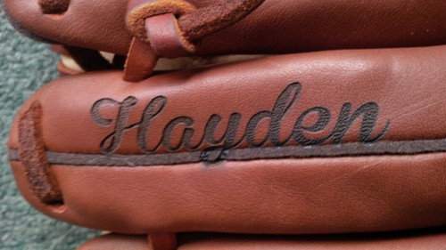 Engraved Leather Baseball Glove